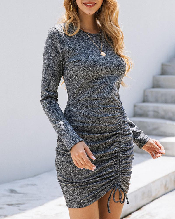 Solid Drawstring Design Ruched Bodycon Dress