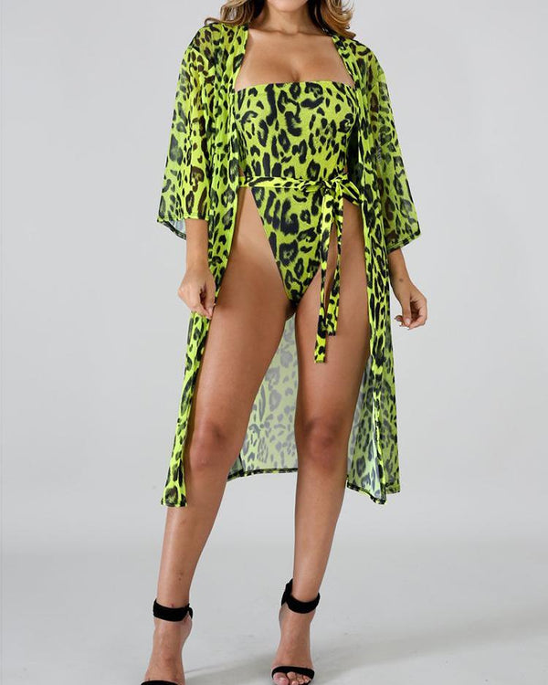 Leopard Belted One Piece Swimwear With Cover Up