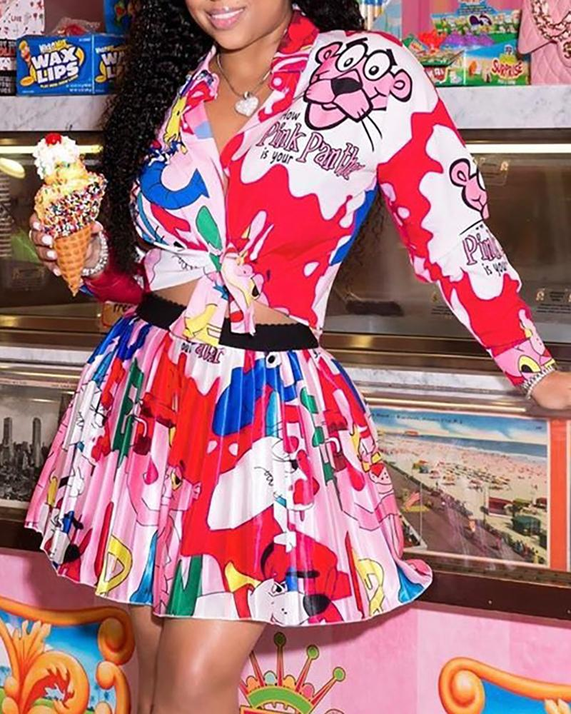 Colorful Cartoon Print Shirt & Pleated Skirt Set