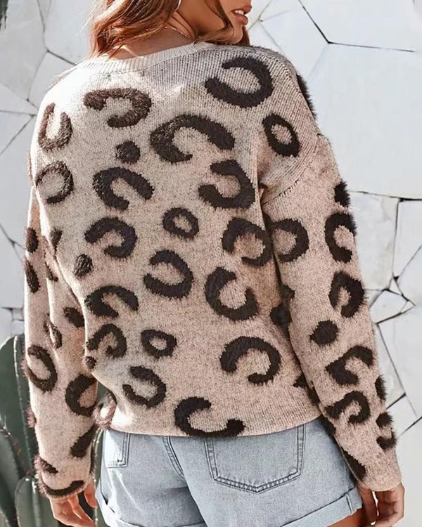 Round Neck Abstract Leopard Long Sleeve Knitting Sweater