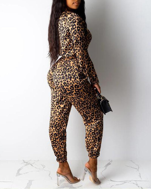 Long Sleeve Zipped Leopard Print Jumpsuit