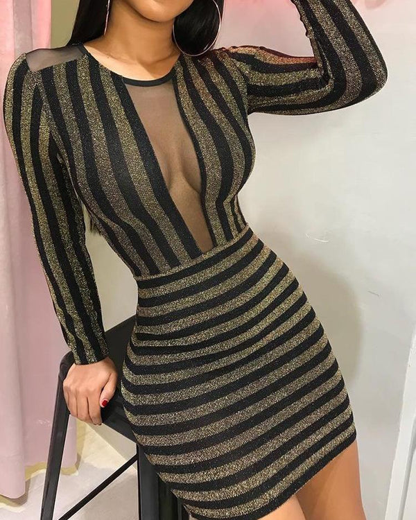 Glitter Sheer Mesh Insert Bodycon Dress