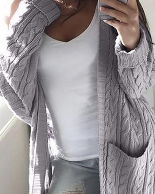 Solid Open Front Pocket Longline Cardigan