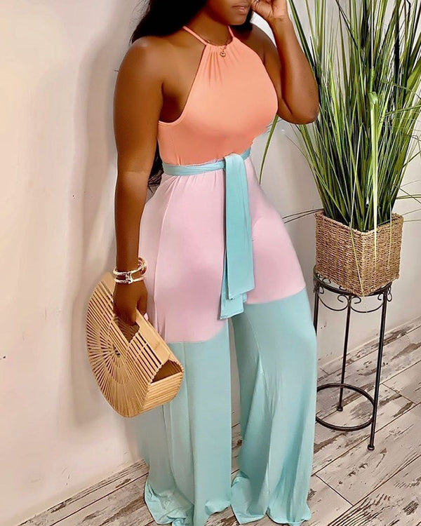 Halter Contrast Color Sleeveless Jumpsuits