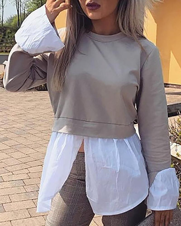 Round Neck Bell Cuff Colorblock Insert Slit Blouse