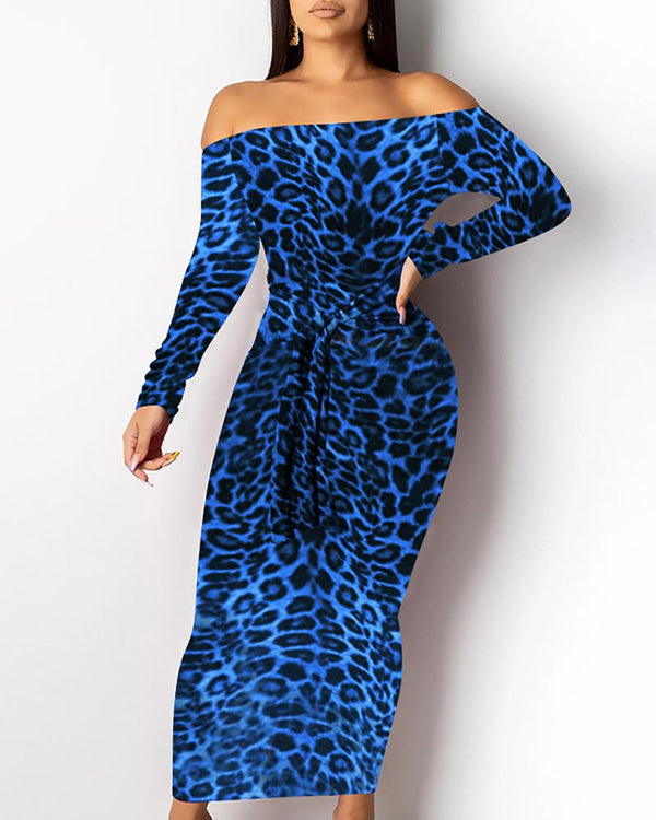 Off Shoulder Leopard Print Long Sleeve Dress