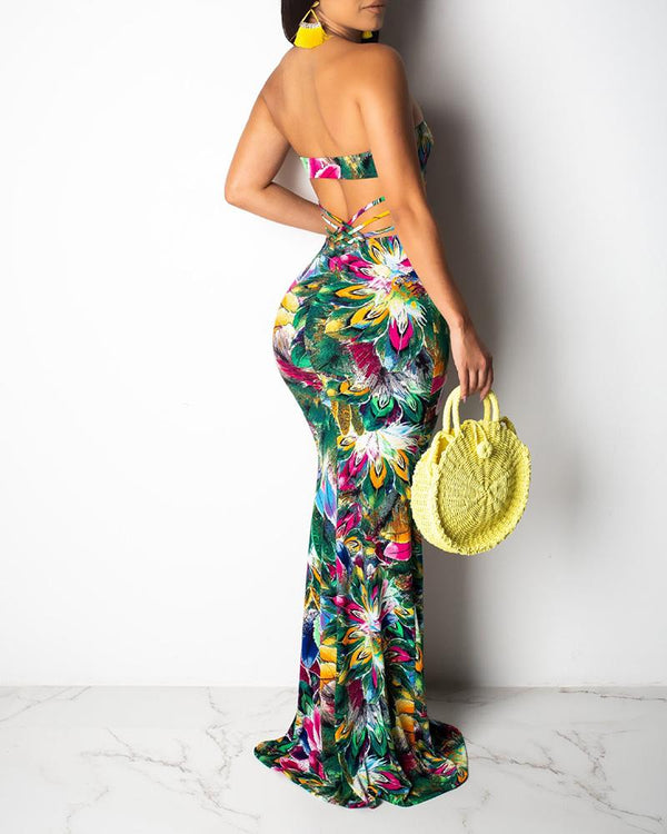 Off Shoulder Backless Floral Print Long Fishtail dress