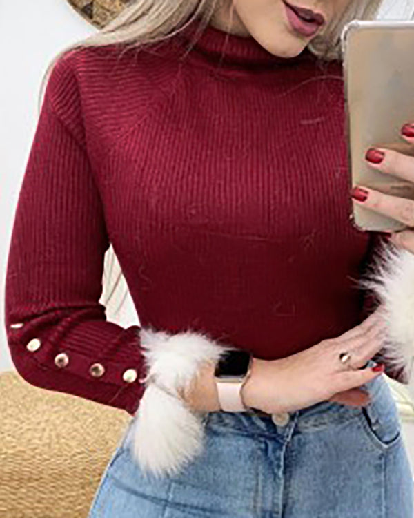 Mock Neck Ribbed Popper Cuff Fluffy Fur Insert Blouse