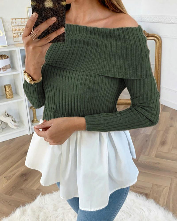 Off Shoulder Ribbed Long Sleeve Colorblock Insert Ruffles Blouse
