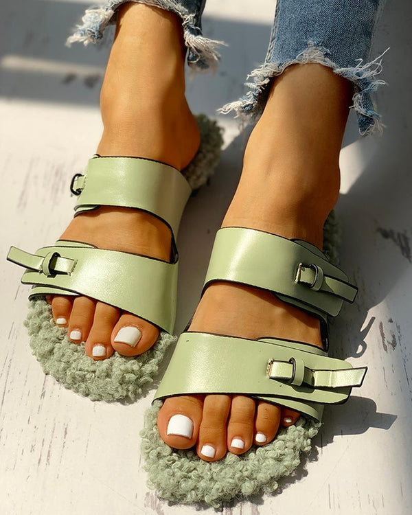 Fluffy Patchwork Buckled Flat Sandals