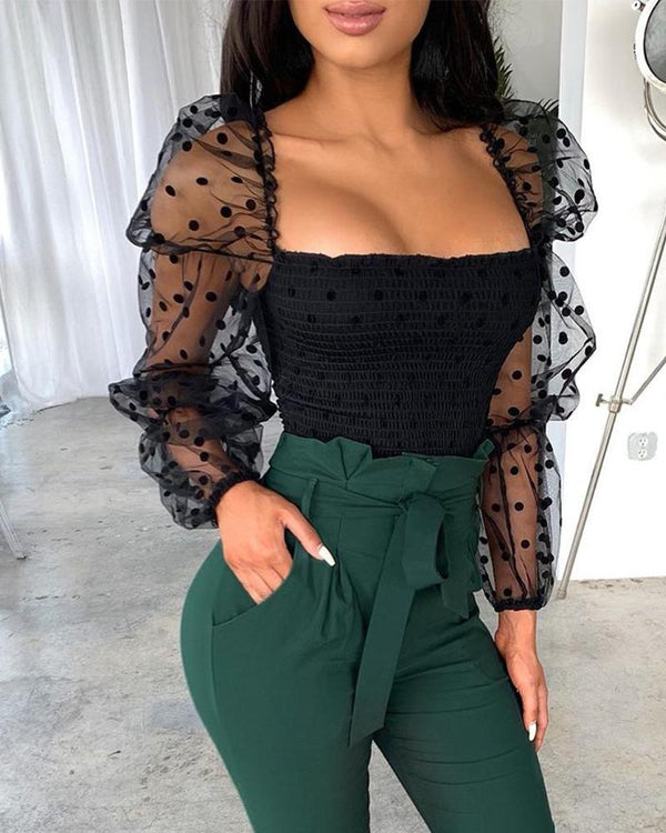 Mesh Polka Dot Sleeve Top