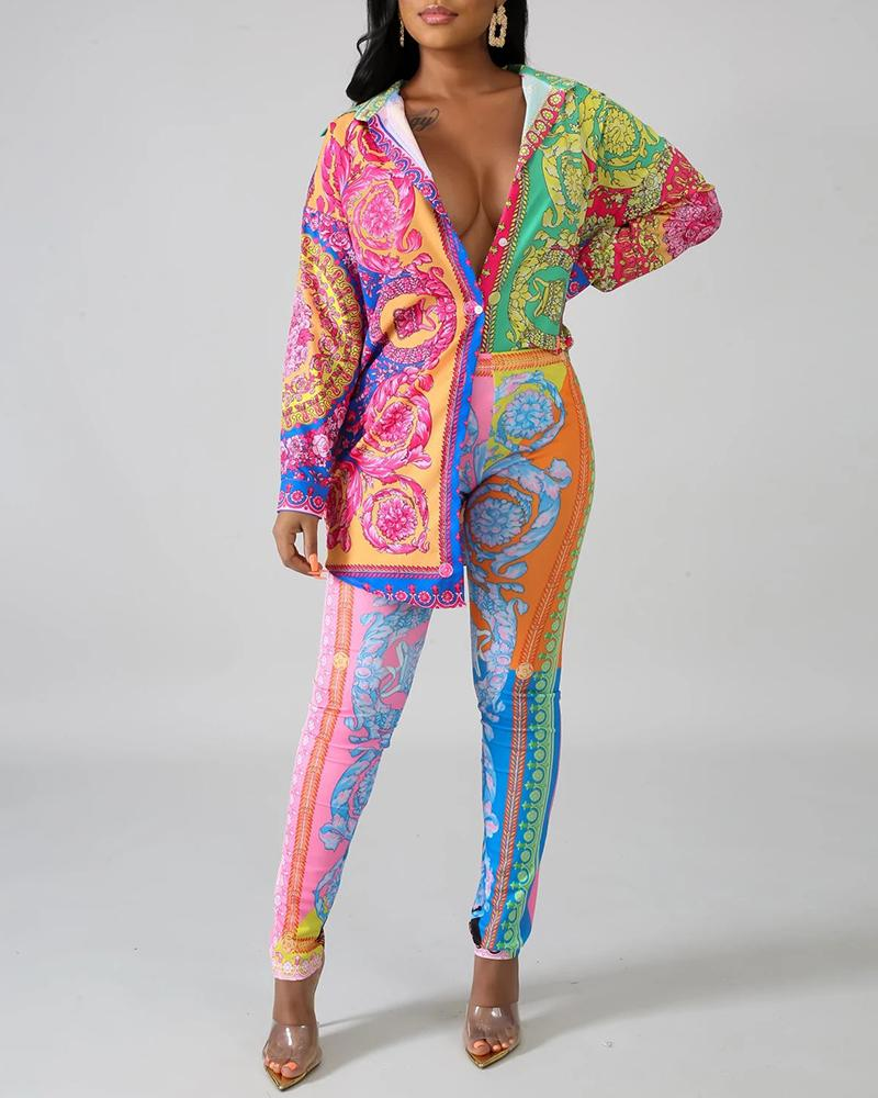 Turn-down Collar Retro Print Long Sleeve Shirt & Pants Sets