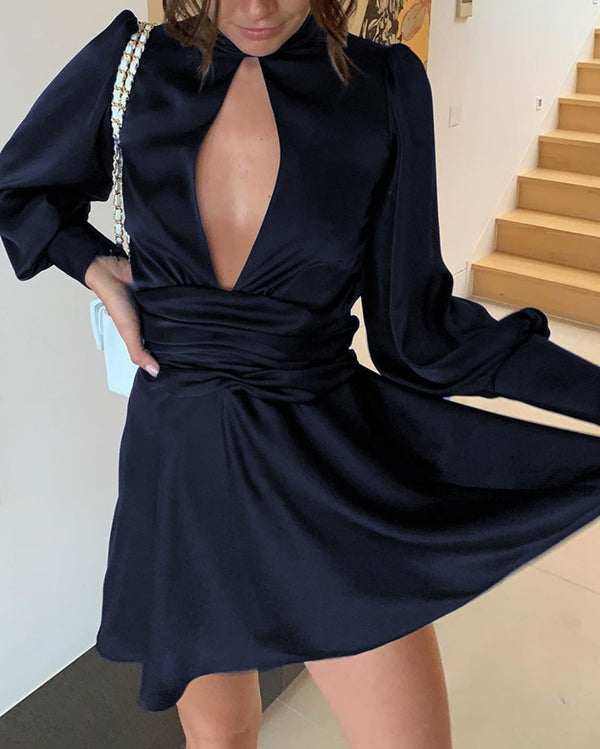 High Neck Front Cutout Dress