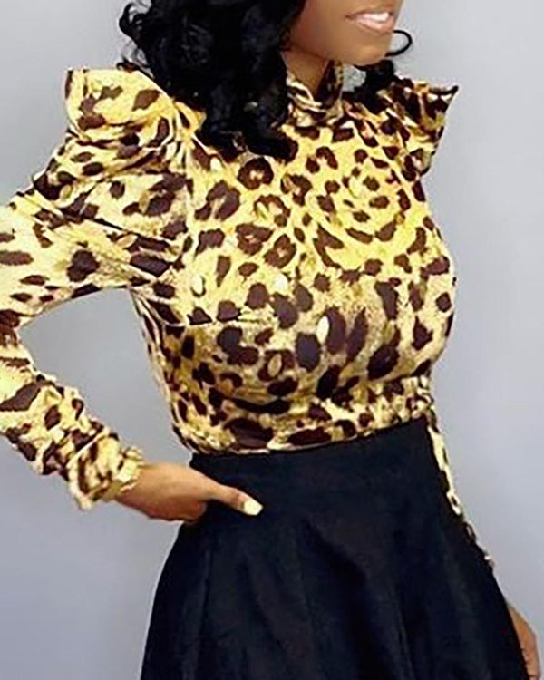 Leopard Long Sleeve Casual Blouse