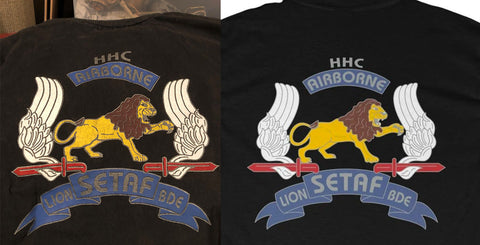 Original SETAF HHC Company T-Shirt next to the ACA Reproduction