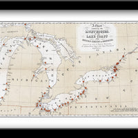 GREAT LAKES LIGHTHOUSES • RESTORED 1848 GREAT LAKES LIGHTHOUSES CHART
