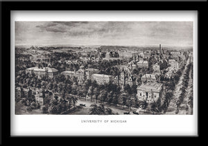 University of Michigan • Restored Lithograph of the University of Michigan 1908