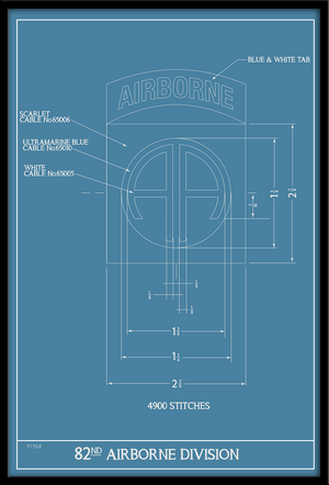 82nd Airborne Patch Schematic 12x18 Poster