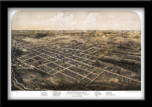 Restored bird's eye view map of Coldwater, Michigan 1868 by Albert Ruger.
