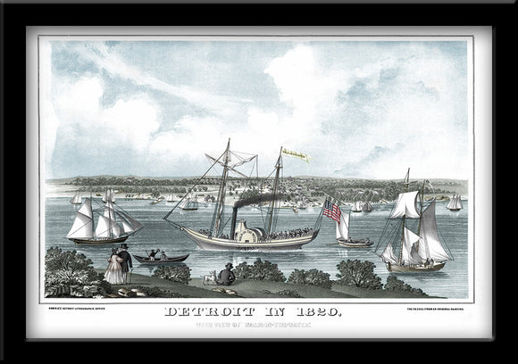 Restored River View of Detroit, Michigan 1820