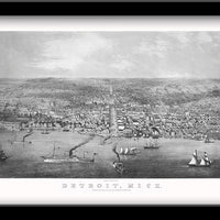 Detroit, Michigan • Restored bird's eye view map of Detroit, Michigan 1856 by George Robinson