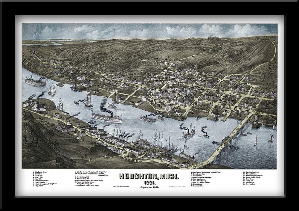 HOUGHTON, MICHIGAN • RESTORED BIRD'S EYE VIEW MAP OF HOUGHTON, MI 1881 BY JJ STONER