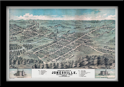 Restored Bird's eye view map of Jonesville MI 1872 by Eli Glover