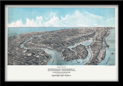 Restored Birdseye View of Michigan's Keweenaw Peninsula 1913 by H Wellge