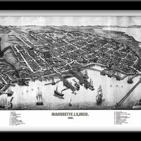MARQUETTE, MICHIGAN • Restored Bird's eye view map of Marquette, Michigan 1881