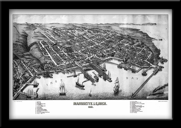 Restored Bird's eye view map of Marquette, Michigan 1881