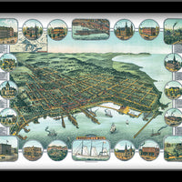 MARQUETTE, MICHIGAN • Restored Bird's eye view map of Marquette, Michigan 1886 by E. Demar