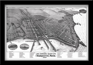 MARQUETTE, MICHIGAN • RESTORED BIRD'S EYE VIEW MAP OF MARQUETTE, MI 1897