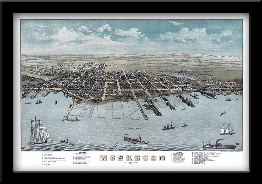 Restored bird's eye view map of Muskegon, Michigan 1874 by Albert Ruger