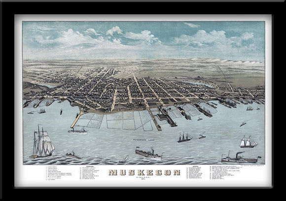 Restored bird's eye view map of Muskegon Michigan 1874 by Albert Ruger