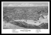 BIRDSEYE VIEW MAP OF PENTWATER, MICHIGAN, 1880 BY J.J. STONER