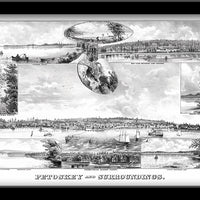 Petoskey, Michigan • Restored Illustration of Petoskey, Michigan Scenes 1880