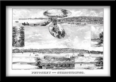 Restored Illustration of Petoskey, Michigan Scenes 1880