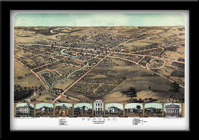 RESTORED BIRDSEYE VIEW MAP OF PONTIAC, MICHIGAN 1867 BY ALBERT RUGER