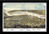 PORT HURON, MICHIGAN • RESTORED BIRDSEYE VIEW MAP OF PORT HURON/SARNIA 1867 BY ALBERT RUGER