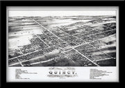 BIRDSEYE VIEW MAP OF QUINCY MIchigan 1883