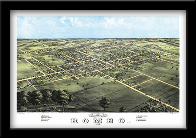 Restored bird's eye view map of Romeo, Michigan 1868 by Albert Ruger