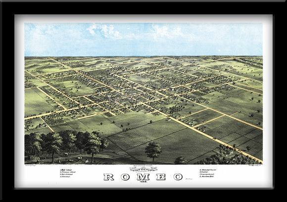 Restored bird's eye view map of Romeo MI 1868 by Albert Ruger