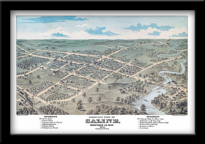 Restored bird's eye view map of Saline, Michigan 1872 by Eli Glover