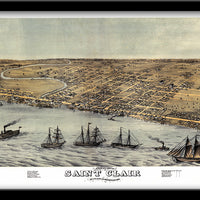 SAINT CLAIRE, MICHIGAN • RESTORED BIRDSEYE VIEW MAP OF SAINT CLAIRE, MICHIGAN 1868 BY E.S. Glover