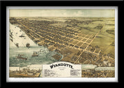 BIRDSEYE VIEW MAP OF WYANDOTTE, MICHIGAN, 1896 BY TM FOWLER