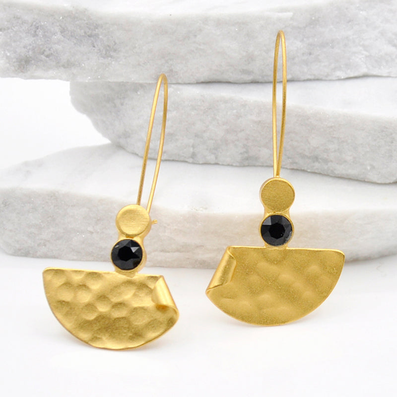 Gold hammered dangle earrings with black Swarovski crystal