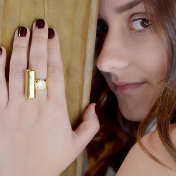 t shape band ring with gold finish and Swarovski crystal