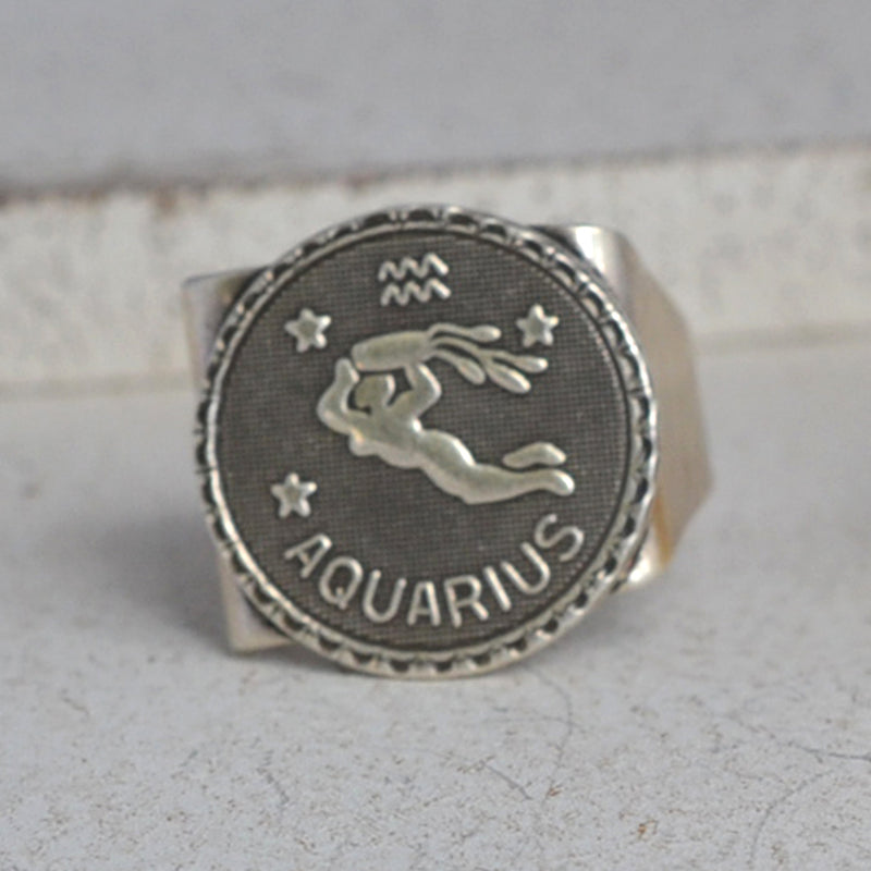 Silver aquarius ring