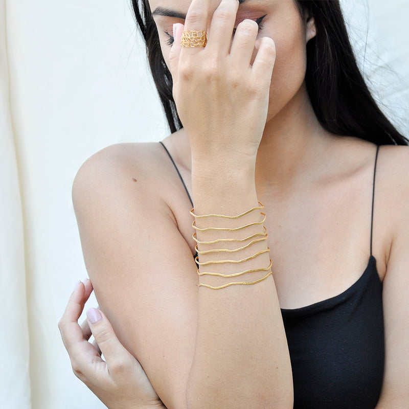 thin multiband hammered gold cuff bracelet