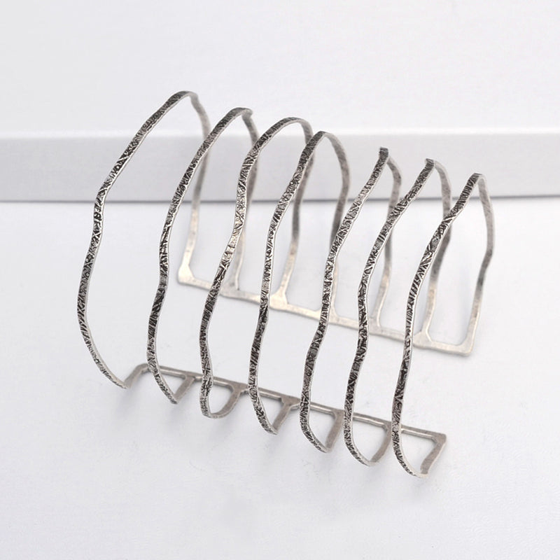 silver plated multiple band cuff bracelet